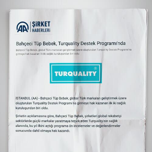 Bahçeci Tüp Bebek, Turquality Destek Programı'nda