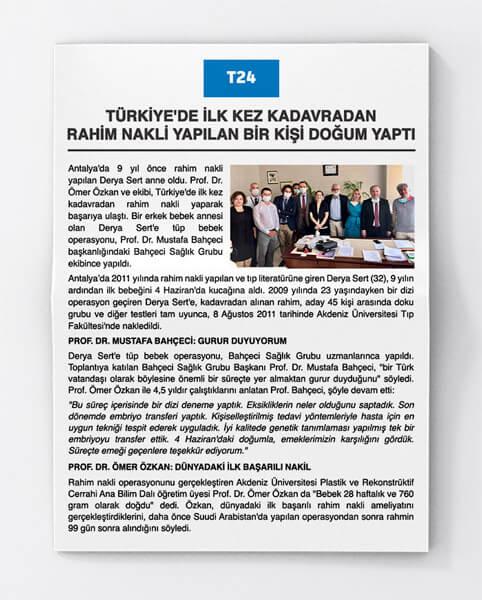 Türkiye'de İlk Kez Kadavradan Rahim Nakli Yapılan Bir Kişi Doğum Yaptı
